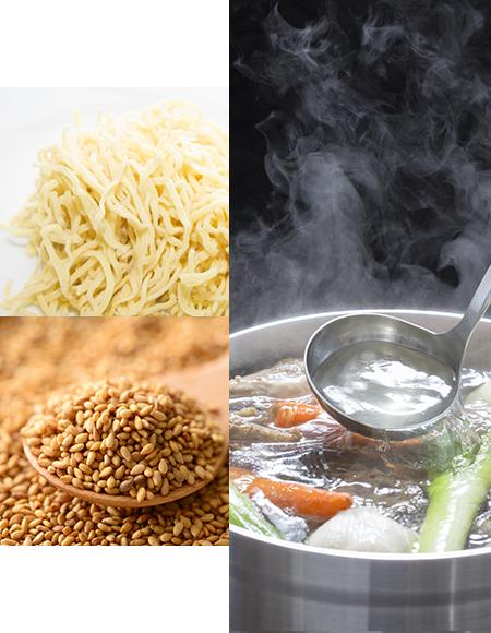 麺、ゴマ、スープの画像